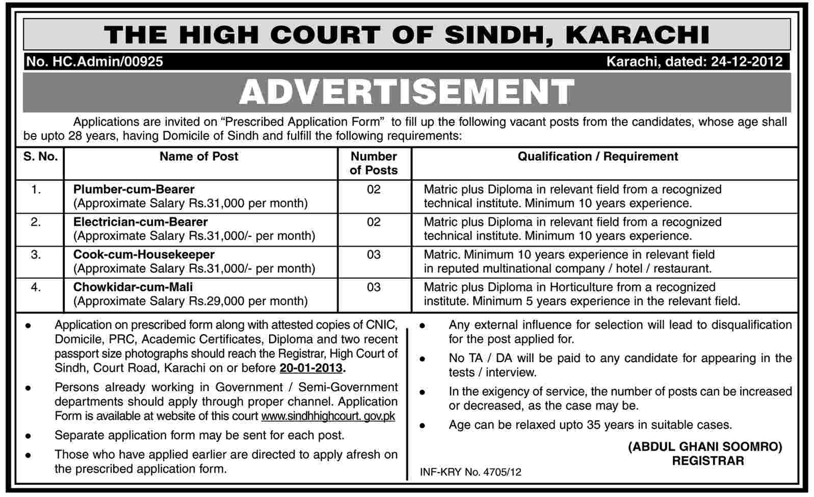 High Court of Sindh Karachi Jobs 2012 December (www.sindhhighcourt.gov.pk)
