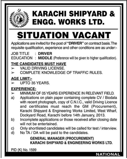 Karachi Shipyard & Engineering Works Ltd. Requires Driver