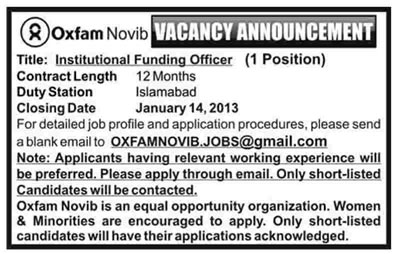 Oxfam Novib Pakistan Job 2013 for Institutional Funding Officer