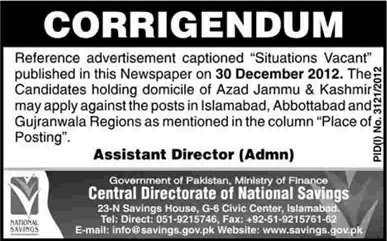 Corrigendum - National Savings Jobs 2013-2012 Pakistan