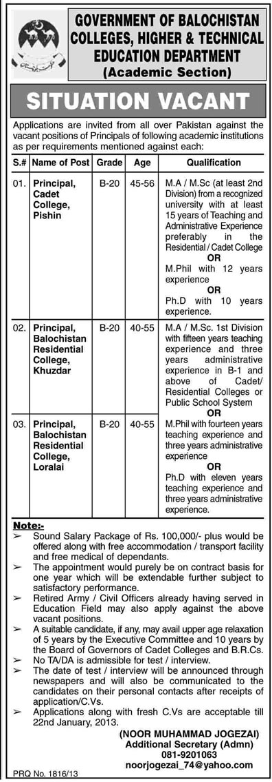 Colleges, Higher & Technical Education Department Balochistan Requires Principals