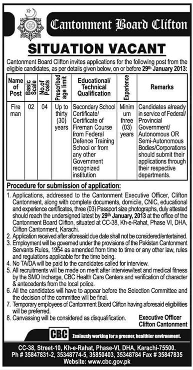 Firemen Jobs 2013 at Cantonment Board Clifton Karachi