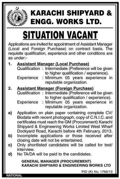 Assistant Managers (Local & Foreign Purchase) Vacancies at Karachi Shipyard & Engineering Works
