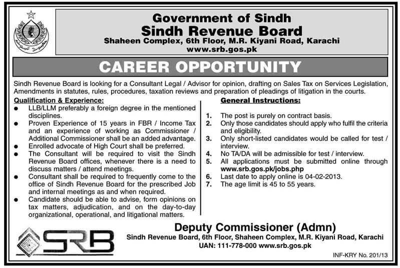 Consultant Legal Advisor Vacancy at Sindh Revenue Board (SRB) 2013