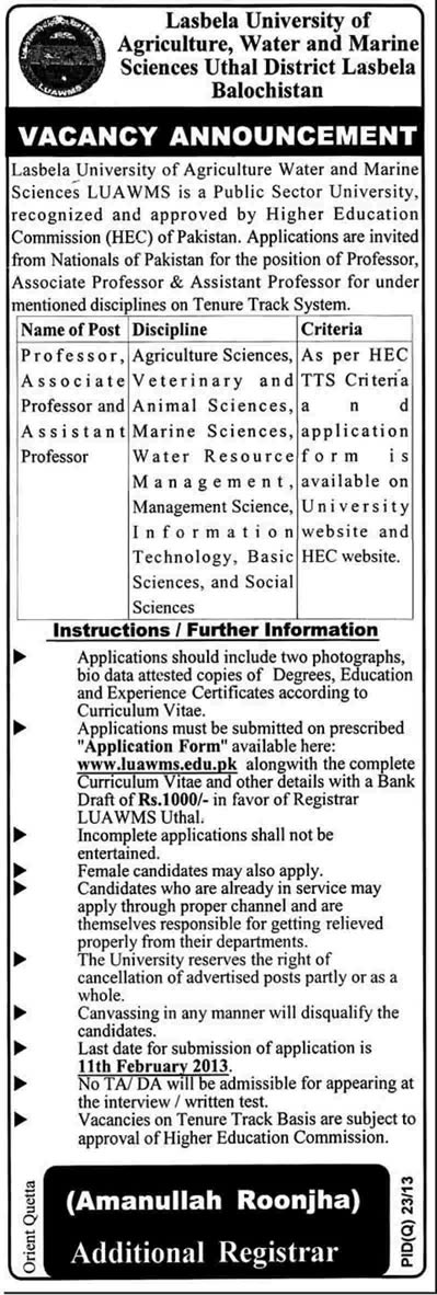 Faculty Jobs in Lasbela University of Agriculture, Water & Marine Sciences 2013