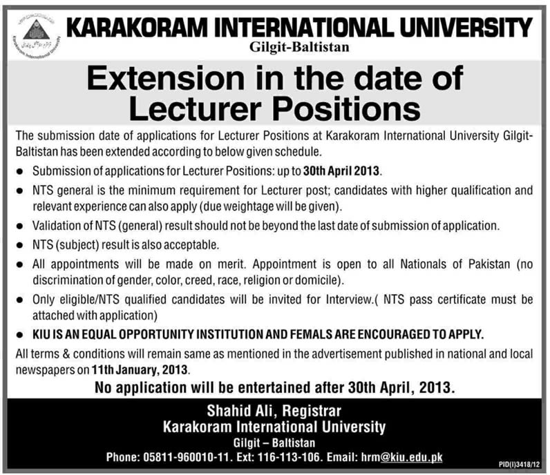 KIU Gilgit Baltistan Jobs 2013 - Extension in Date for Lecturers (Addendum)