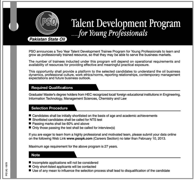 PSO Jobs 2013 Management Trainee Program Latest Ad