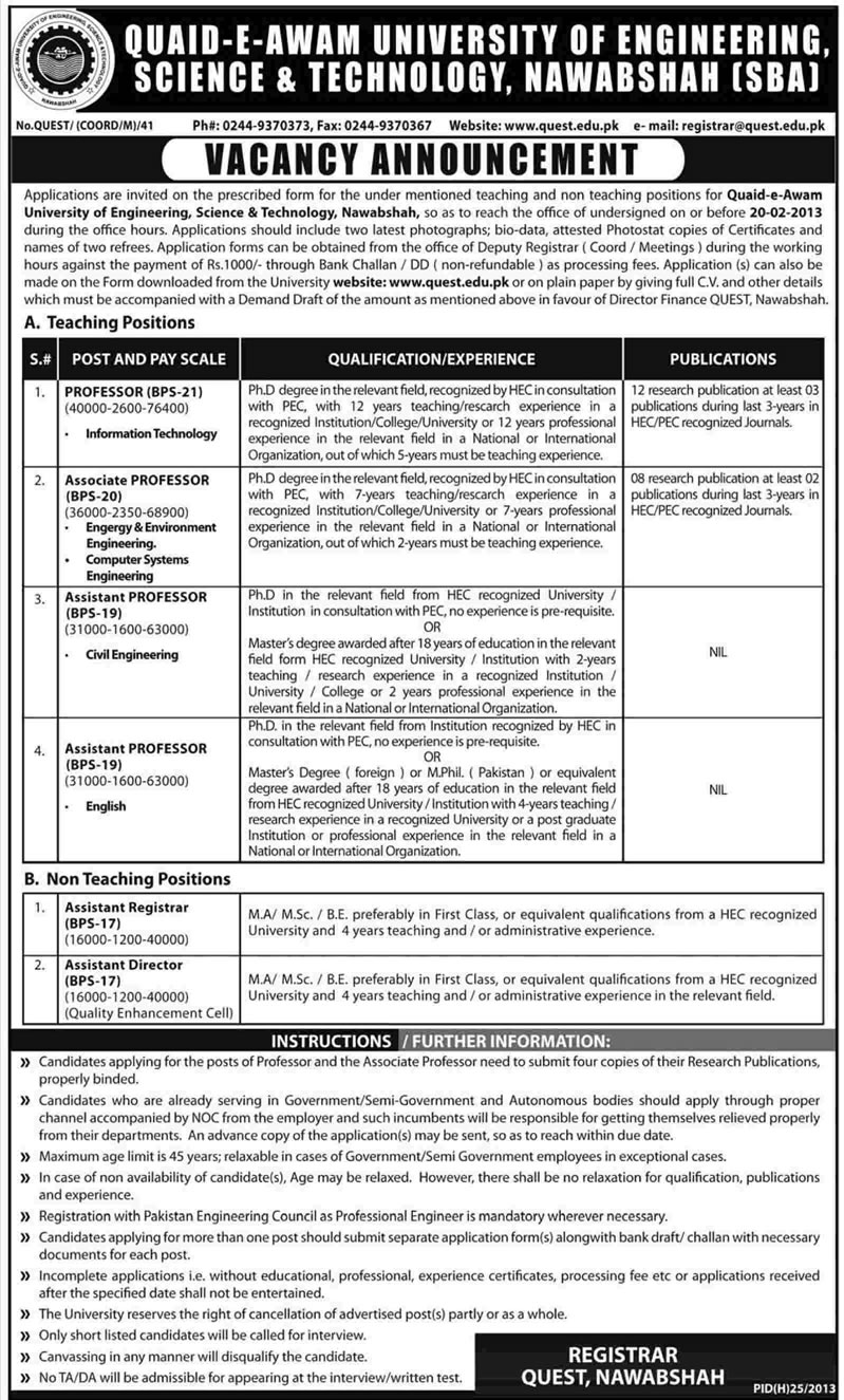 Quaid-e-Awam University of Engineering, Science & Technology (QUEST) Nawabshah Jobs 2013 Faculty & Administration
