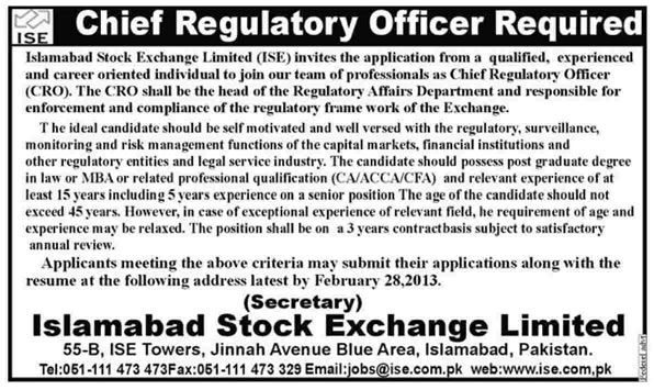 Islamabad Stock Exchange Job 2013 for Chief Regulatory Officer (CRO)