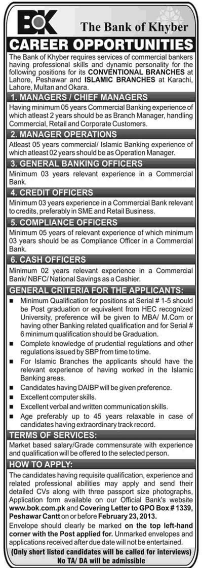 Bank of Khyber Jobs 2013 Islamic Banking & Conventional