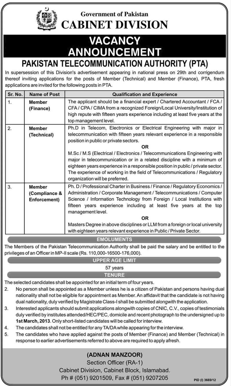 Pakistan Telecommunication Authority Member Jobs 2013