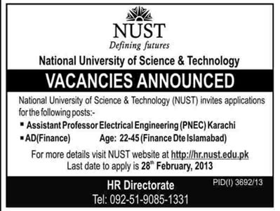 Latest Jobs in NUST 2013 for Assistant Professor & Assistant Director Finance