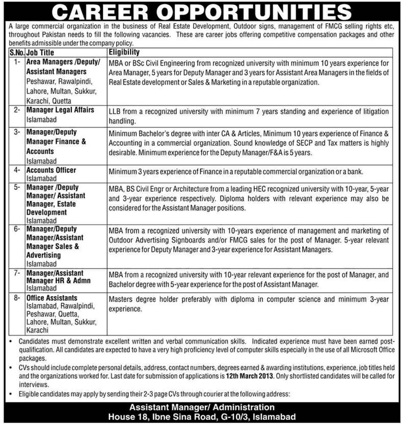 REDAMCO Jobs 2013 Pakistan Railways' Commercial Organization