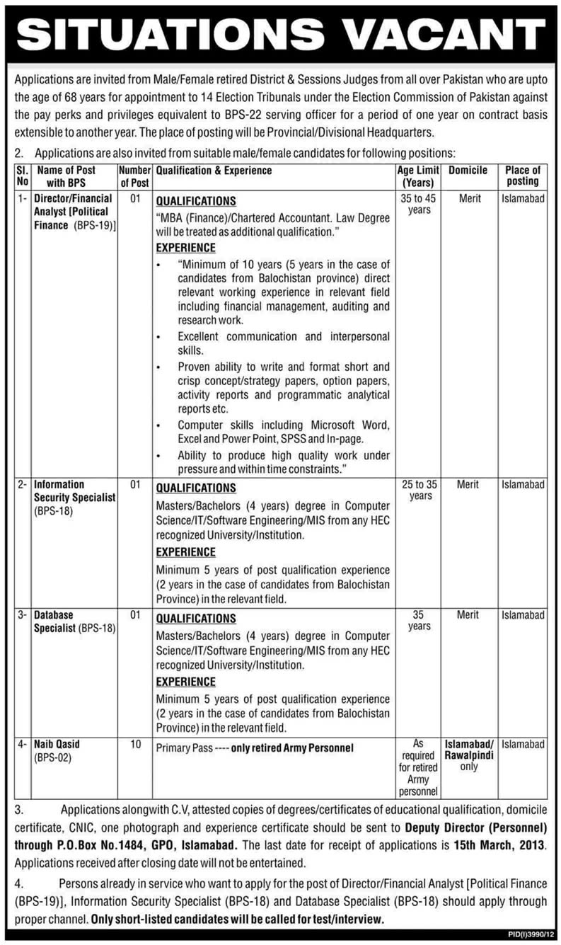 Election Commission of Pakistan Jobs 2013 ECP Latest Advertisement