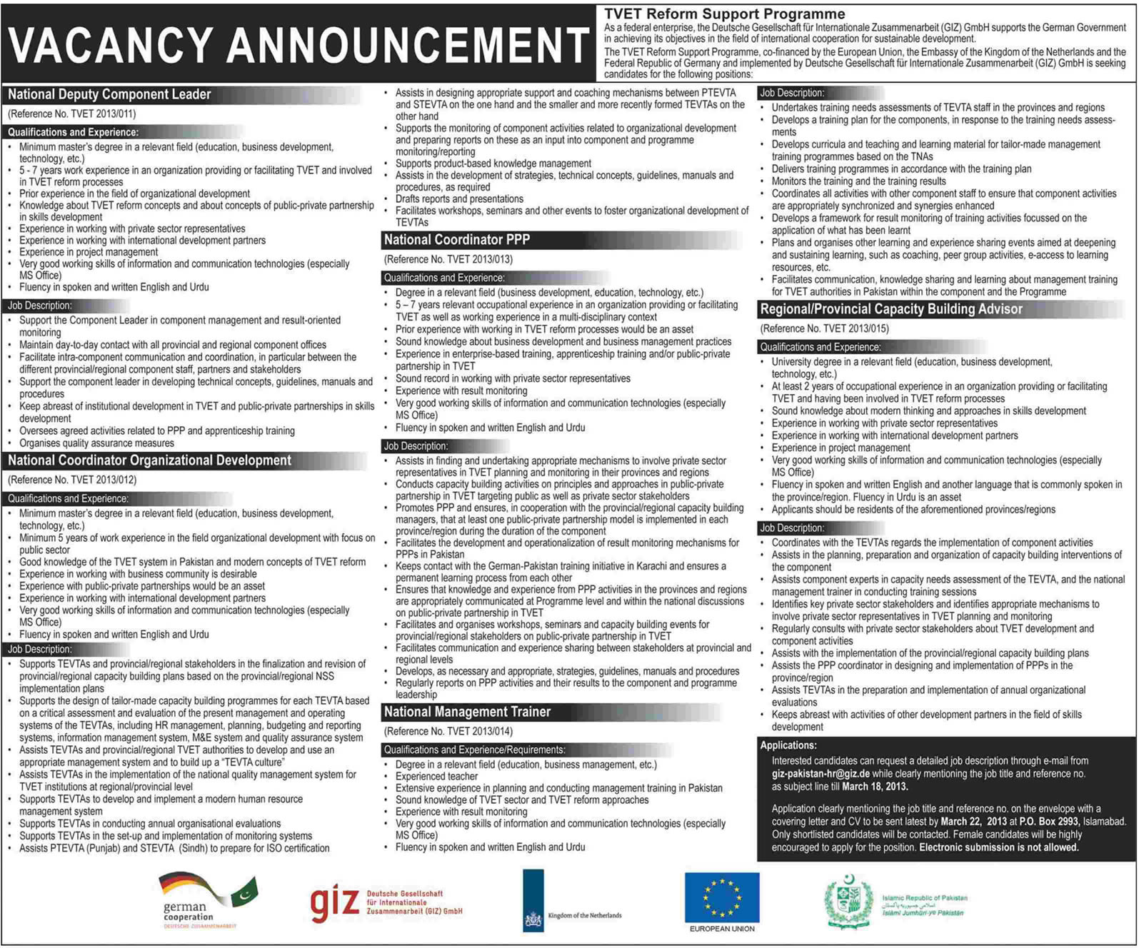 GIZ Pakistan Jobs 2013 Latest in TVET Reform Support Programme