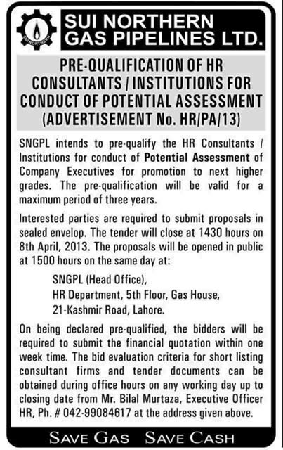 SNGPL Pre-Qualification of HR Consultants 2013 Sui Northern Gas Pipelines Limited