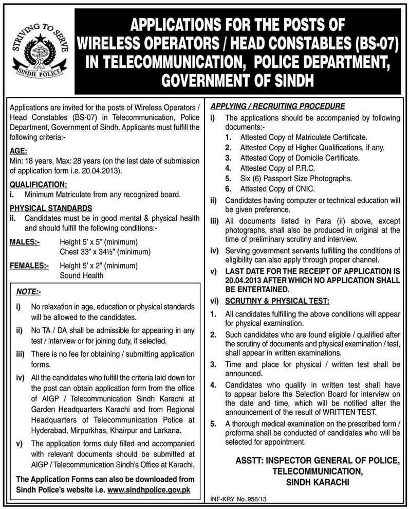 Sindh Police Jobs 2013 Application Form for Head Constables / Wireless Operators in Telecommunication Department