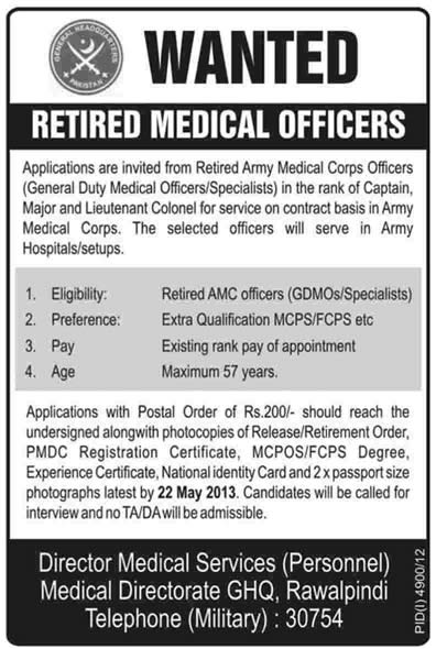 Army Medical Corps Jobs 2013 for Ex/Retired AMC Officers (GDMO/Specialist) Doctors Latest Advertisement