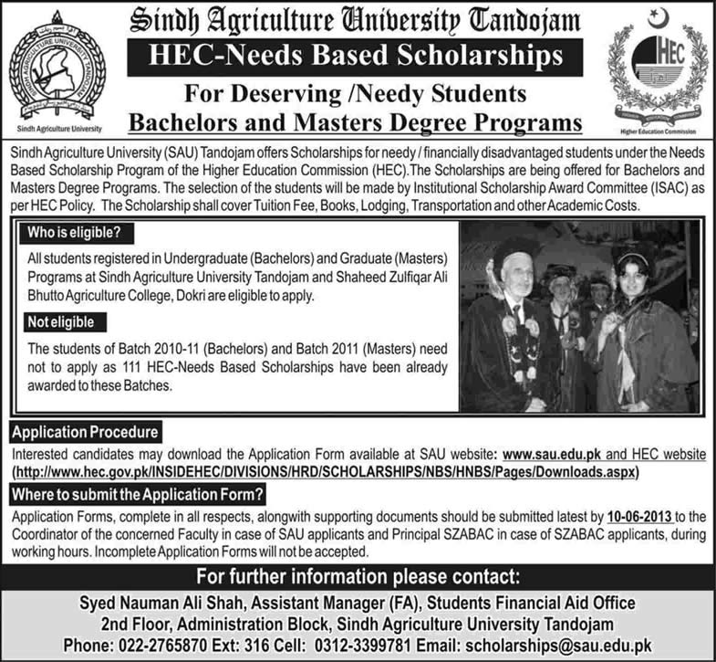 HEC Need Based Scholarship 2013 at Sindh Agriculture University (SAU) Tandojam