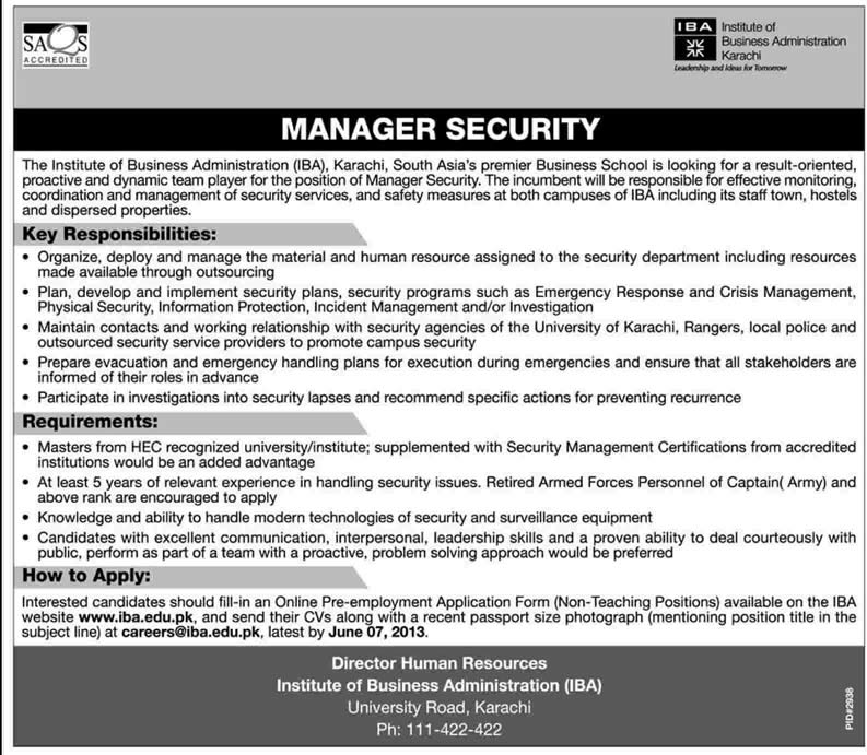 Security Manager Job In Karachi 2013 May At Iba Karachi In