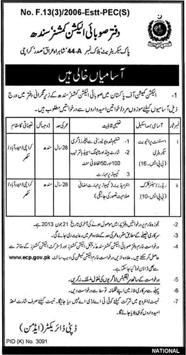 Provincial Election Commission Sindh Jobs 2013 June Application Form & Latest Advertisement