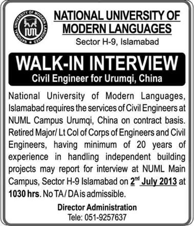 Civil Engineer Job in NUML University Campus Urumqi China 2013