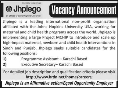 JHPIEGO Pakistan Jobs 2013 June Latest in Karachi for Programme Assistant & Executive Secretary