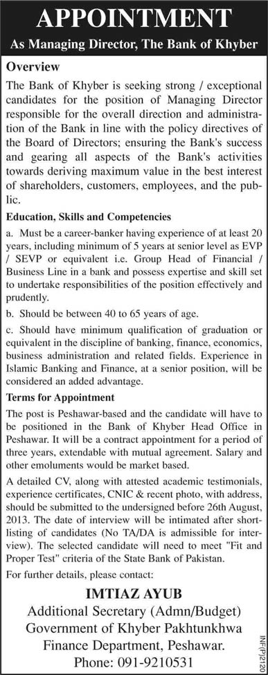 The Bank of Khyber Jobs 2013 August Latest for Managing Director in Peshawar