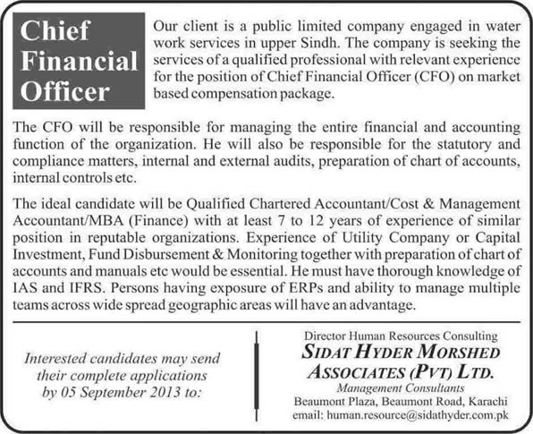 Cfo Jobs In Pakistan  August Chief Financial Officer Through