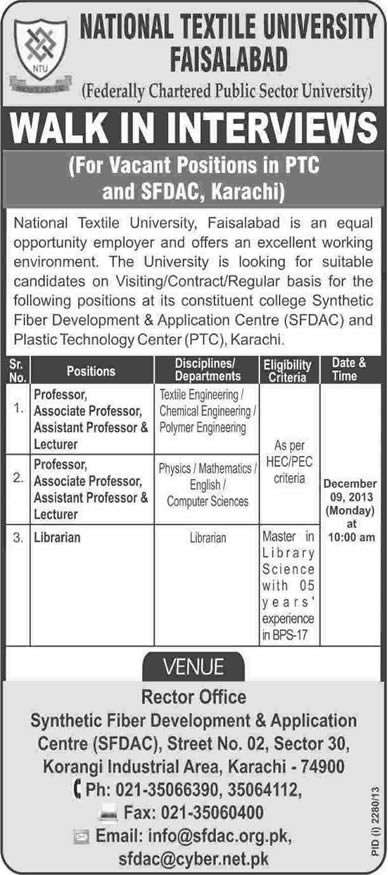 Librarian & Teaching Faculty Jobs in Karachi 2013 December for National Textile University - SFDAC & PTC