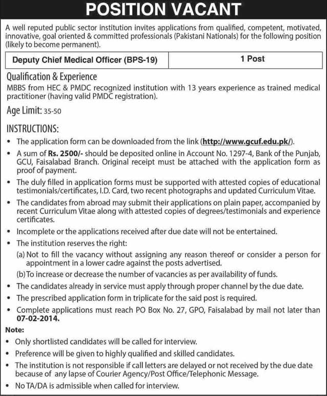 chief medical officer job in government college university faisalabad 2014