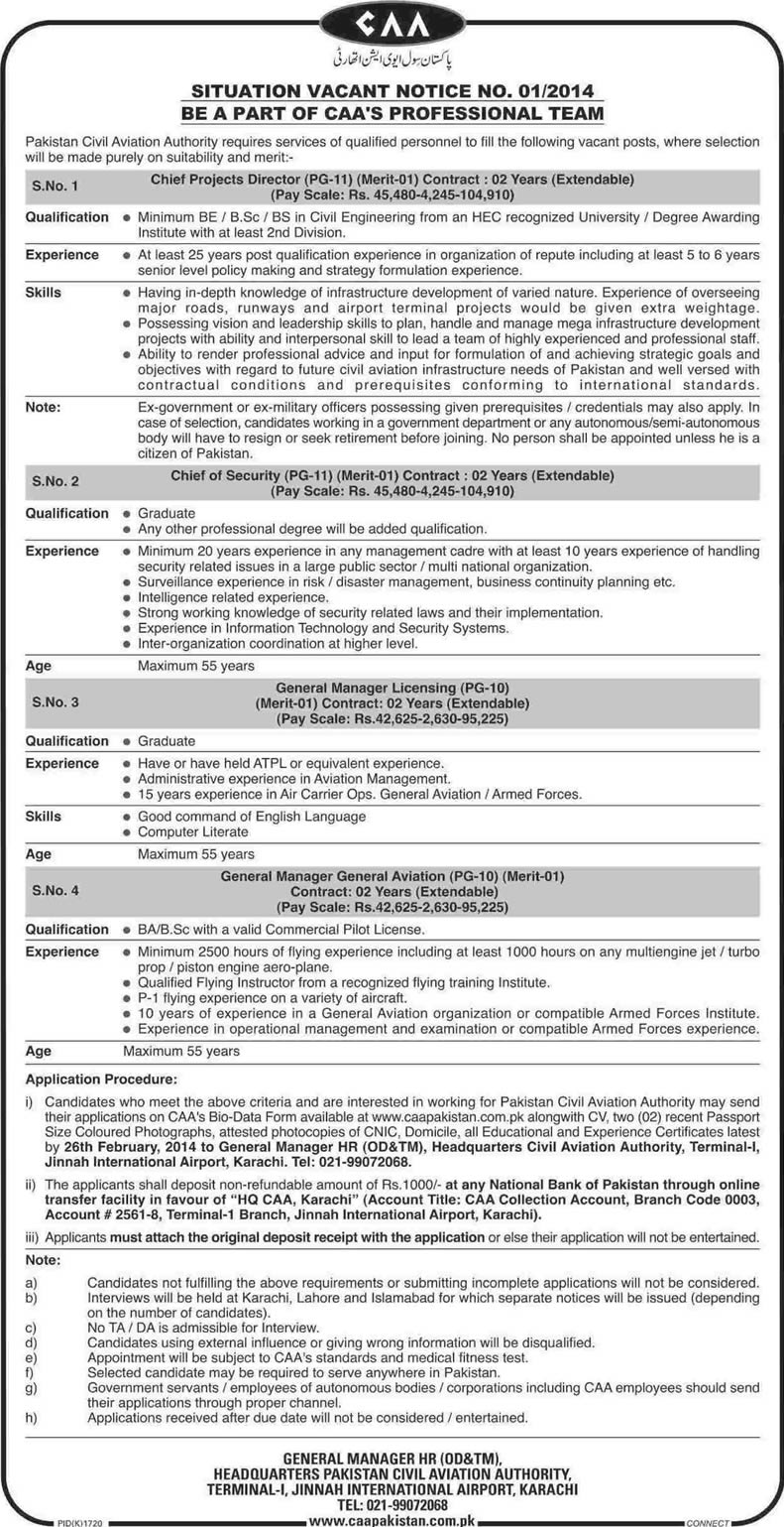 Pakistan Civil Aviation Authority Jobs 2014 Latest CAA