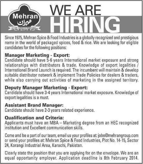 Mehran Spice & Food Industries Jobs in Karachi 2014 for Marketing & Brand Managers