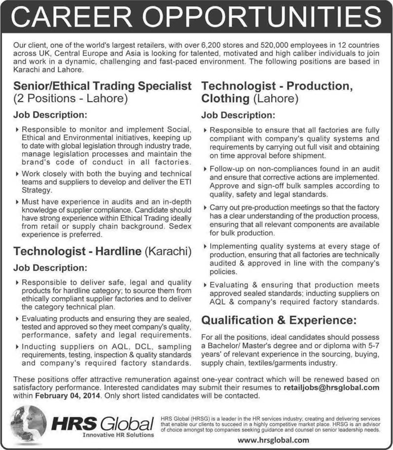 HRS Global Pakistan Jobs 2014 for Ethical Trading Specialist, Technologist - Hardline/ Production Clothing
