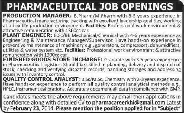 Pharmaceutical Company Jobs In Karachi 2014 February For