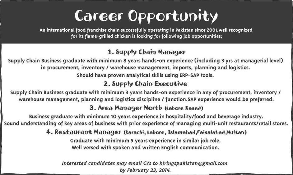 restaurant    fast food chain jobs in pakistan 2014