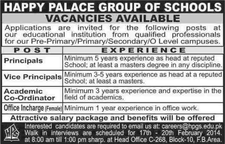 Happy Palace Group of Schools Karachi Jobs 2014 February for Principal, Vice Principal & Administrative Staff