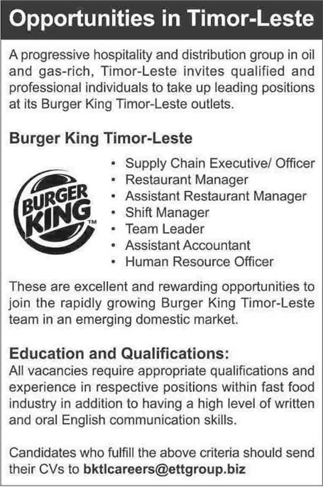 burger king jobs in timor leste 2014 february in timor