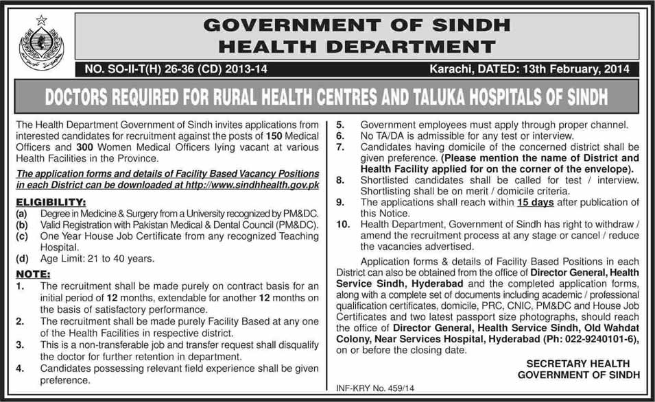 Medical Officers Jobs in Health Department Sindh 2014 February for Rural Health Centers & Taluka Hospitals