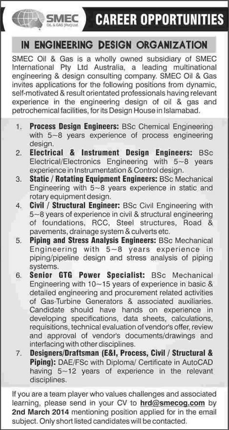 SMEC Oil and Gas Jobs in Islamabad 2014 February in