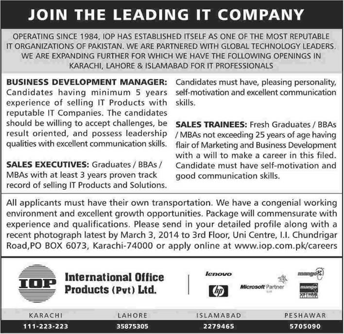 Marvelous Sales Manager / Executives U0026 Sales Trainee Jobs In Pakistan 2014 February  At International Office Products