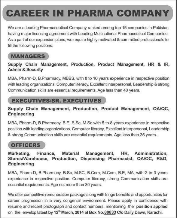 Pharmaceutical Jobs In Karachi 2014 March For Managers, Executives