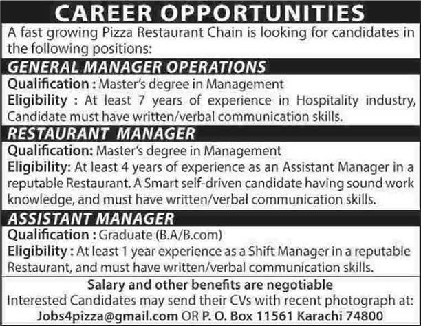 operations  u0026 restaurant manager jobs in karachi 2014 april