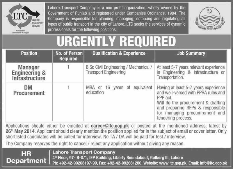 Lahore Transport Company LTC Jobs 2014 May for Manager Engineering & Infrastructure and DM Procurement
