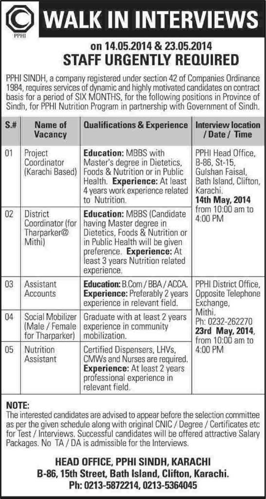 PPHI Sindh Jobs May 2014 for Project / District Coordinator ...