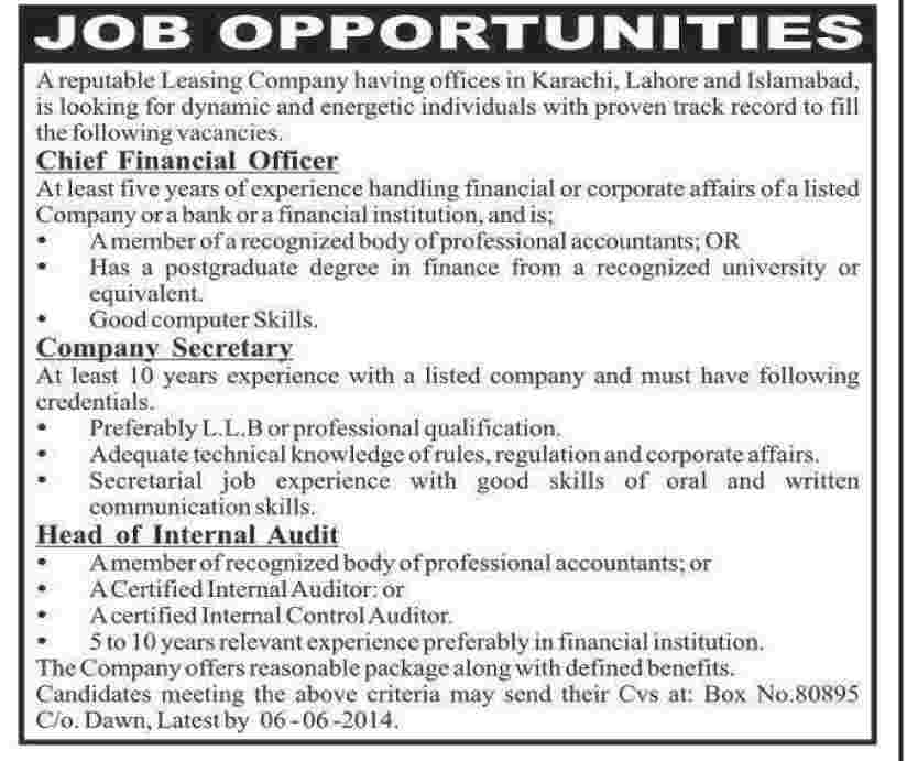Chief Financial Officer Company Secretary  Head Of Internal Audit
