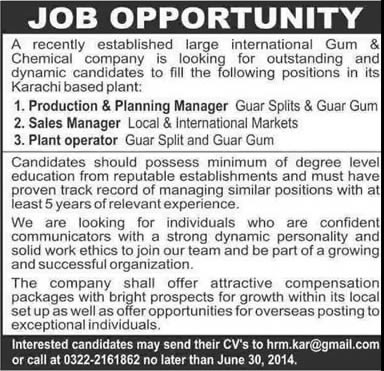 Production Planning Sales Manager Amp Plant Operator