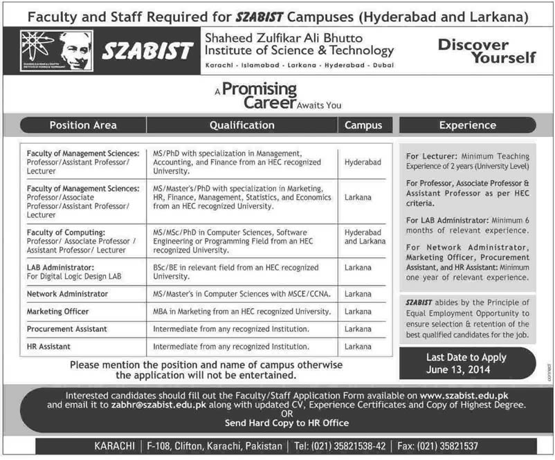 SZABIST University Jobs 2014 June for Teaching Faculty & Administrative Staff