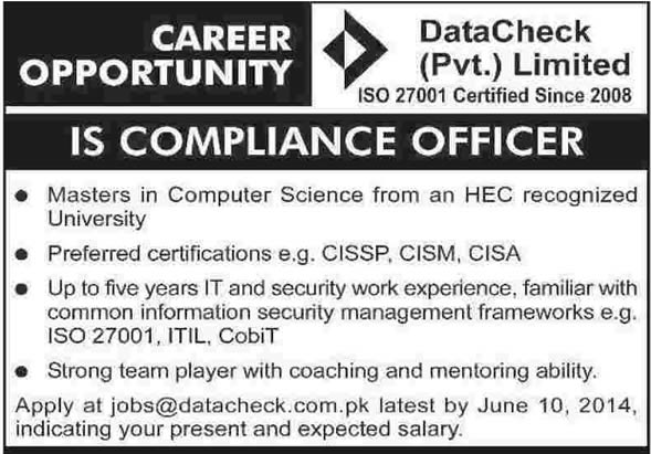 Compliance Officer Jobs in Karachi 2014 June at Data Check (Pvt.) Ltd
