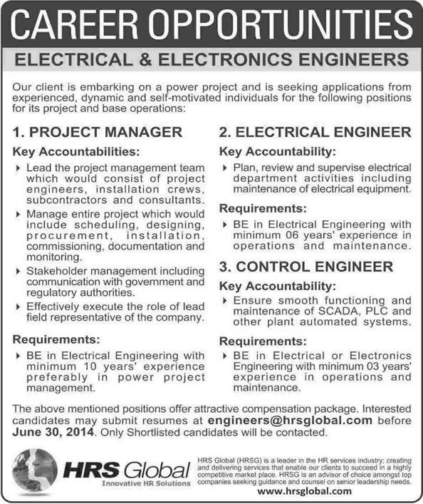 electrical  u0026 electronics engineering jobs in pakistan 2014